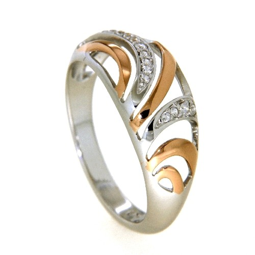 Ring Silber 925 rhodiniert & rosé vergoldet Weite 58