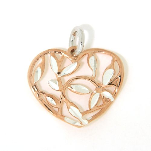 Herzanhänger Silber 925 rhodiniert rosé vergoldet