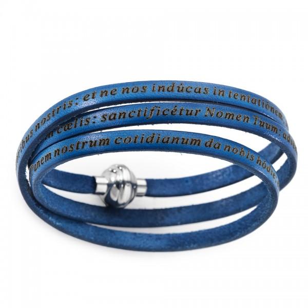 AMEN Armband 57 cm Leder dunkelblau VATER UNSER Latein PNLA17-57