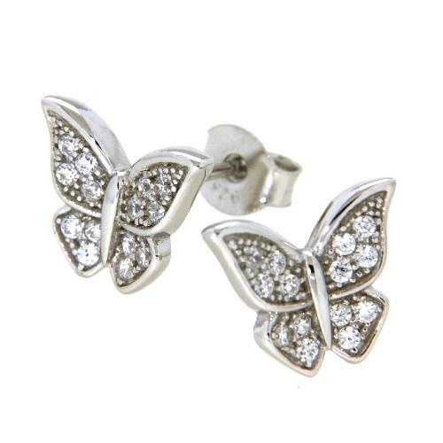 Ohrstecker Silber 925 rhodiniert Schmetterling