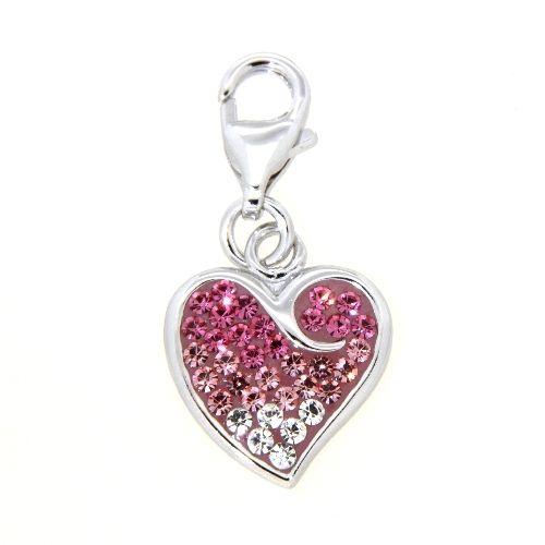 Charm Silber 925 Herz Glassteine weiß und pink