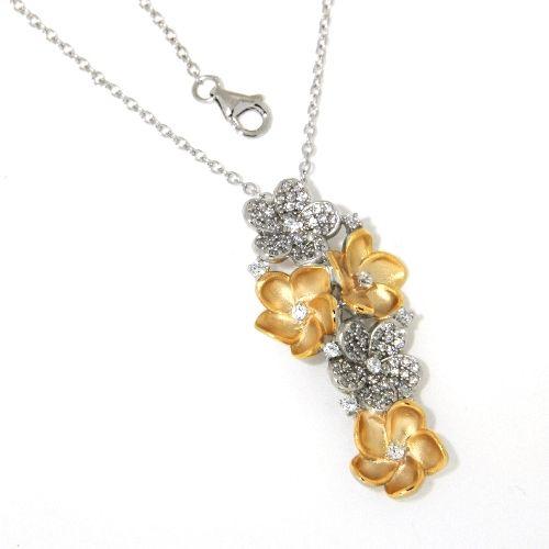 Collier Silber 925 bicolor rhodiniert 40 cm + 2 cm
