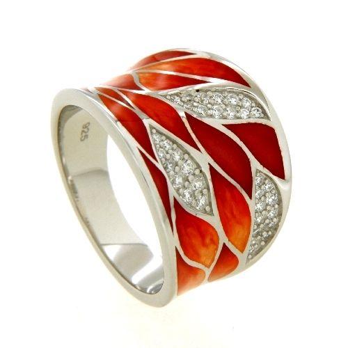 Ring Silber 925 rhodiniert Weite 60 Emaille Zirkonia