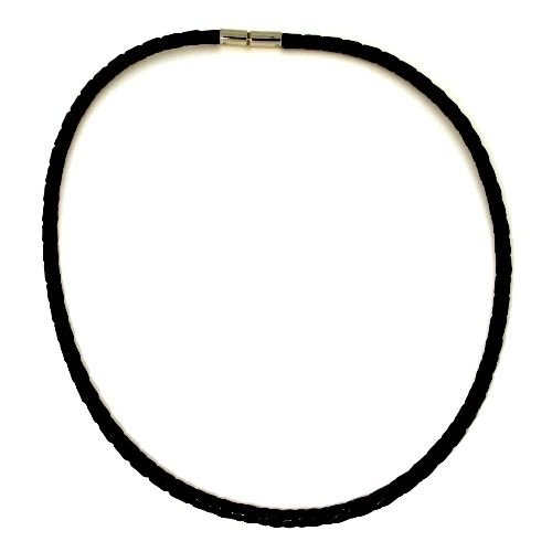 Ledercollier (4mm) Edelstahl 60 cm Bajonettverschluss schwarz