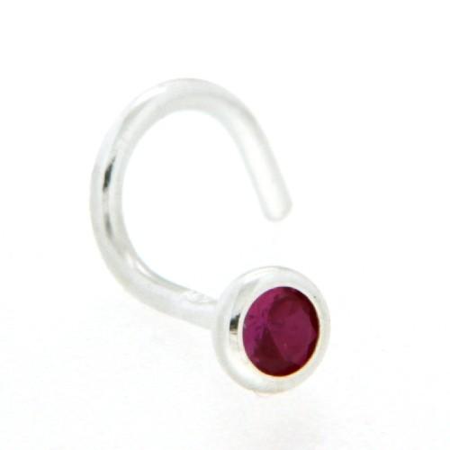 Nasenstecker Silber 925 synthetischer Rubin mit Spirale