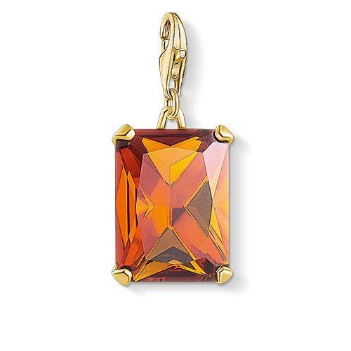 Thomas Sabo Charm-Anhänger großer Stein orange vergoldet 1840-472-8
