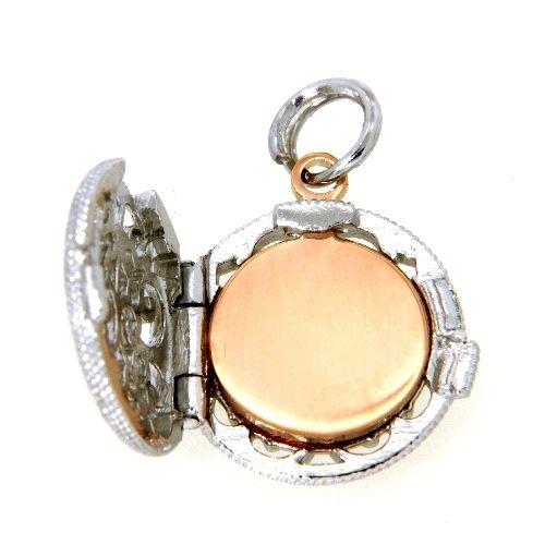 Medaillon Silber 925 rhodiniert rund