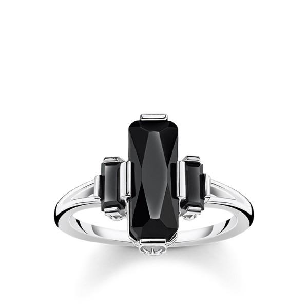 Thomas Sabo Ring schwarze Steine Größe 48 TR2267-641-11-48