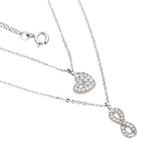 Collier Silber 925 rhodiniert 42+3 cm 2-reihig Herz + Unendlichkeit