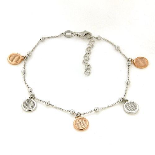 Armband Silber 925 rhodiniert & rosé vergoldet 17 cm + 3 cm