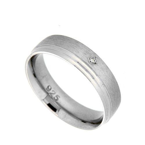 Freundschaftsring Silber 925 rhodiniert Zirkonia Breite 5,5 mm Weite 56