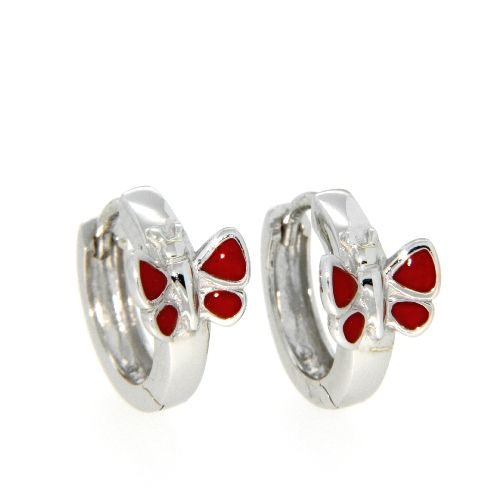 Scharniercreolen Silber 925 rhodiniert Schmetterling rot