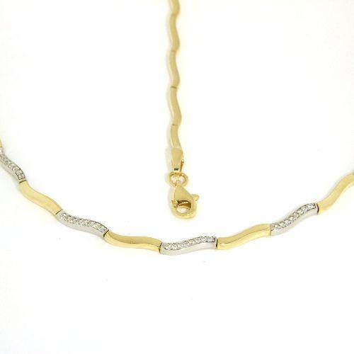 Kette Gold 333 bicolor Zirkonia 45 cm