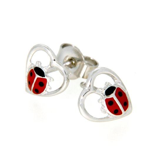 Ohrstecker Silber 925 rhodiniert roter Marienkäfer im Herz