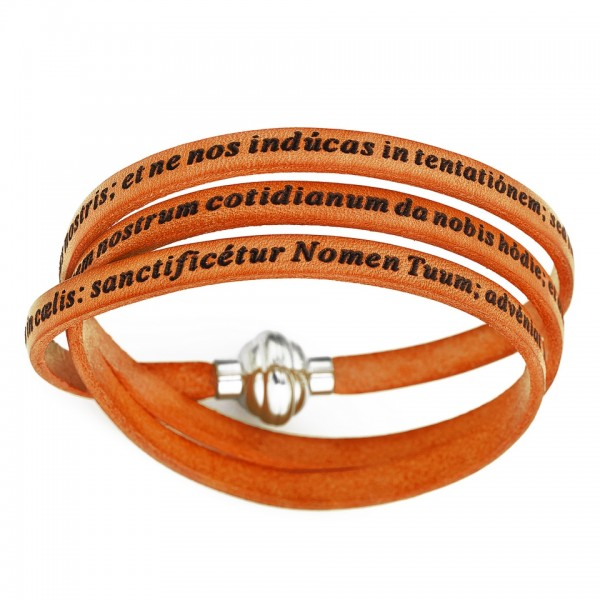 AMEN Armband 57 cm Leder orange VATER UNSER Latein PNLA12-57