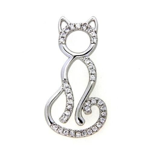 Anhänger Silber 925 rhodiniert Katze
