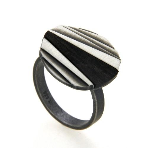 Ring Silber 925 oxidiert Ebenholz Weite 60