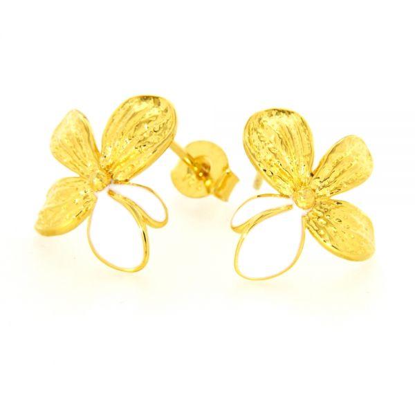 Ohrstecker Silber 925 vergoldet Blüte