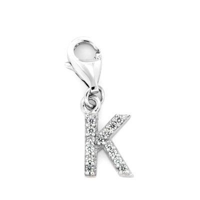 Buchstaben-Charm K Silber 925 rhodiniert