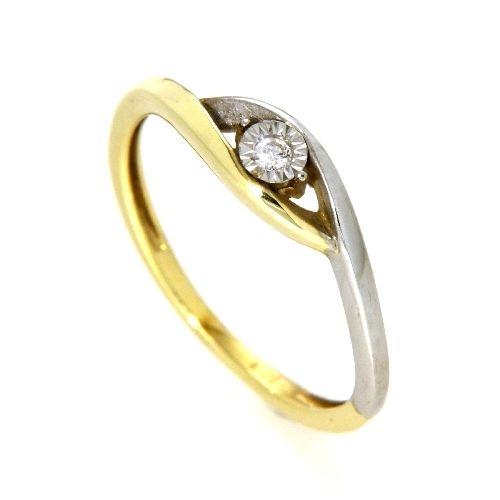 Ring Gold 585 bicolor Weite 60 Gelbgold/Weißgold zweiteilig Brillant 0,03 ct. WSI