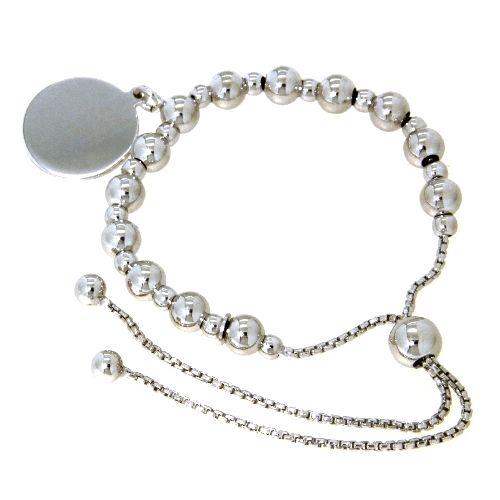 Armband Silber 925 rhodiniert 25 cm verstellbar mit Gravurplatte