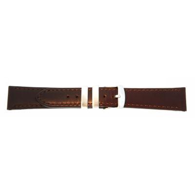 Uhrarmband Leder 20mm extralang (XL) dunkelbraun Edelstahlschließe
