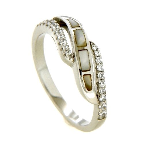 Ring Silber 925 rhodiniert Zirkonia Perlmutt Weite 54