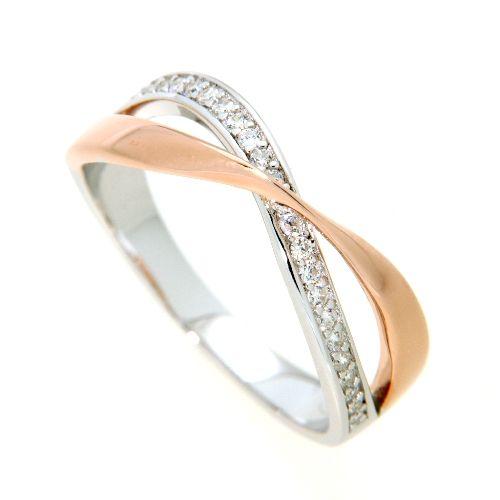 Ring Silber 925 rhodiniert & rosé vergoldet Weite 54