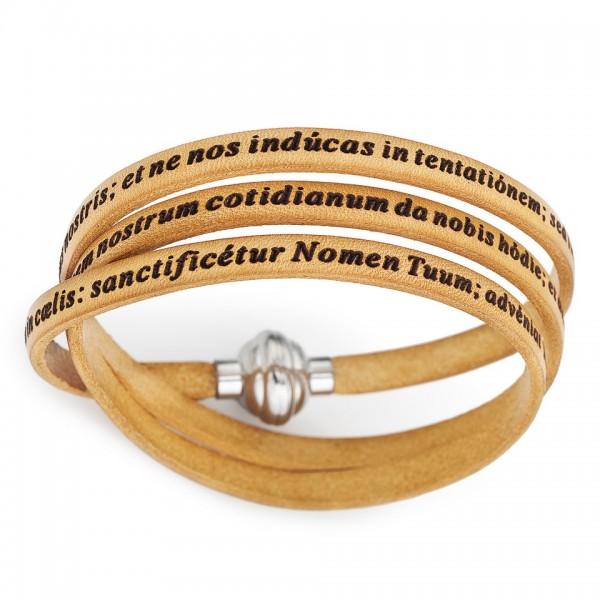 AMEN Armband 60 cm Leder beige VATER UNSER Latein PNLA14-60