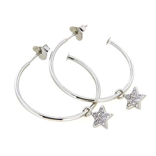 Ohrstecker (Halbcreolen) Silber 925 rhodiniert mit Sterneinhänger