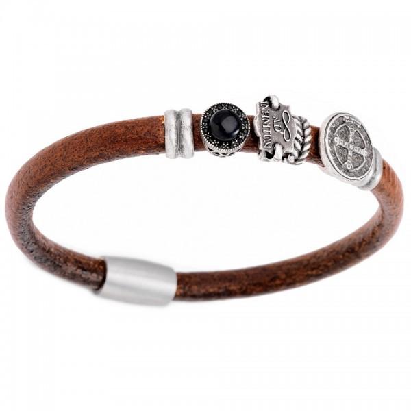 AMEN Armband 19,5 cm Leder BR805-M