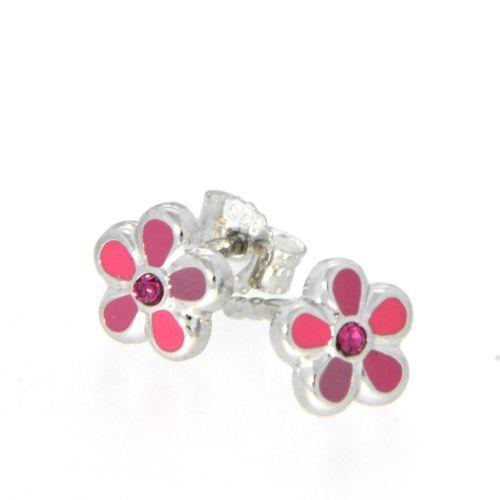 Ohrstecker Silber 925 Blume pink