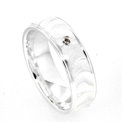 Freundschaftsring Silber 925 Zirkonia Breite 6 mm Weite 50