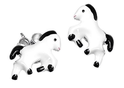 SCOUT Ohrstecker weiß, schwarz und silber Pferde 262153100