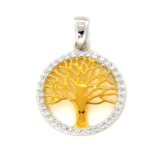 Anhänger Silber 925 rhodiniert & vergoldet Lebensbaum