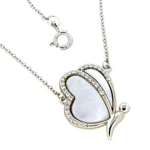 Collier Silber 925 rhodiniert 42+3 cm Perlmutt Schmetterling