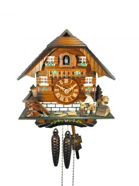 August Schwer Kuckucksuhr 1T Holzhackerhaus 24 cm 1.0313.01.C