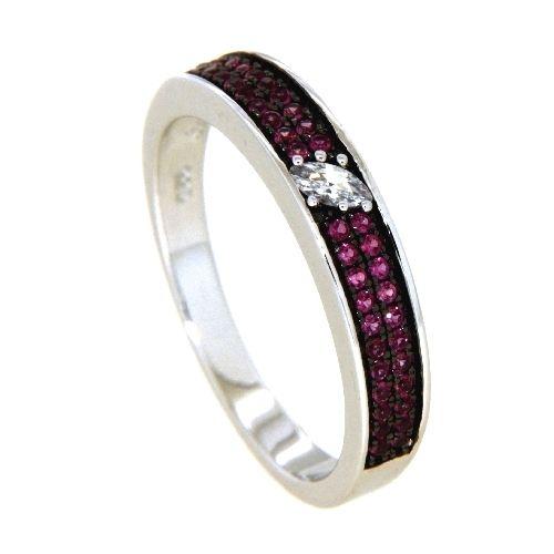Ring Silber 925 rhodiniert Weite 54 Zirkonia roter Korund