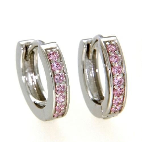 Scharniercreolen Silber 925 rhodiniert Zirkonia-pink 2,9 mm x 13,5 mm