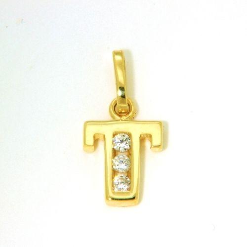 Buchstaben-Anhänger T Gold 333
