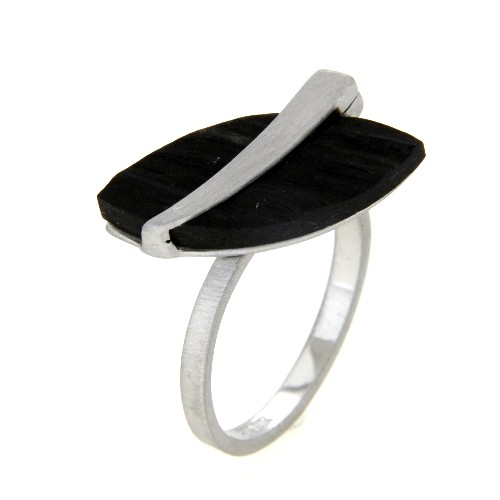 Ring Silber 925 rhodiniert Ebenholz Weite 60