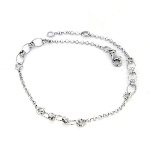 Fußkette Silber 925 rhodiniert 25-23 cm