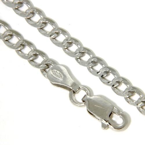 Panzerkette (P100) Silber 925 rhodiniert diamantiert 45 cm