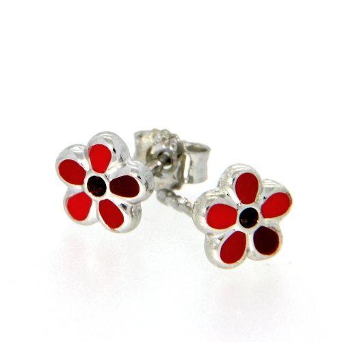 Ohrstecker Silber 925 rhodiniert Blume rot