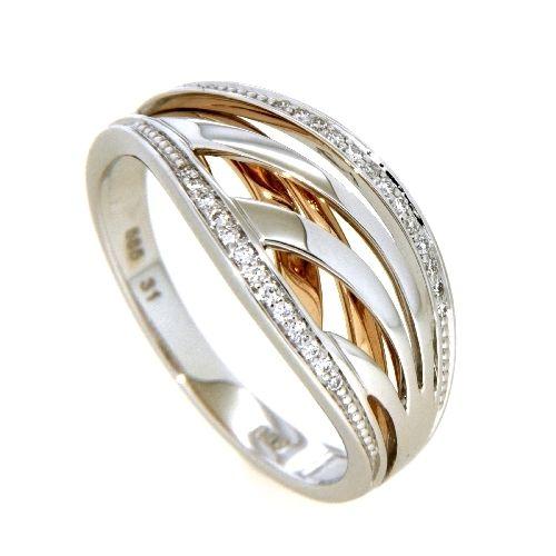 Ring Gold 585 Brillant 0,09 ct.WSI bicolor Weite 60