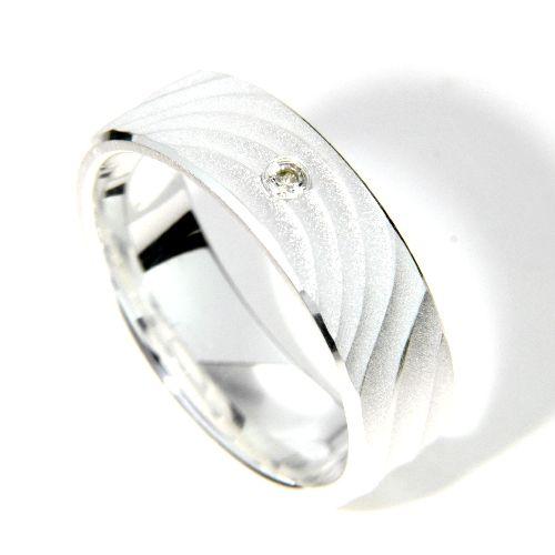 Freundschaftsring Silber 925 Zirkonia Breite 6 mm Weite 61