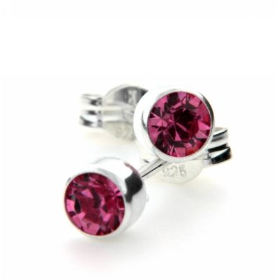 Ohrstecker Silber 925 Glas pink 4mm
