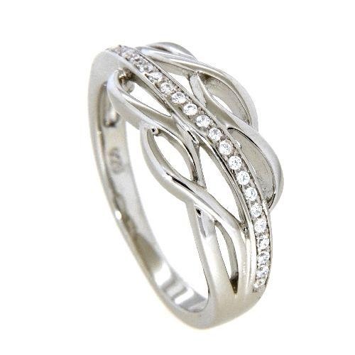 Ring Silber 925 rhodiniert Zirkonia Weite 58