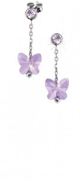 SCOUT Ohrschmuck silber, lila Schmetterlinge 262162100