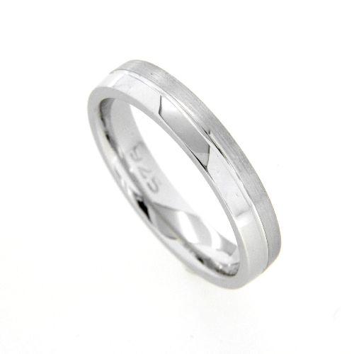 Freundschaftsring Silber 925 rhodiniert Breite 4 mm Weite 60
